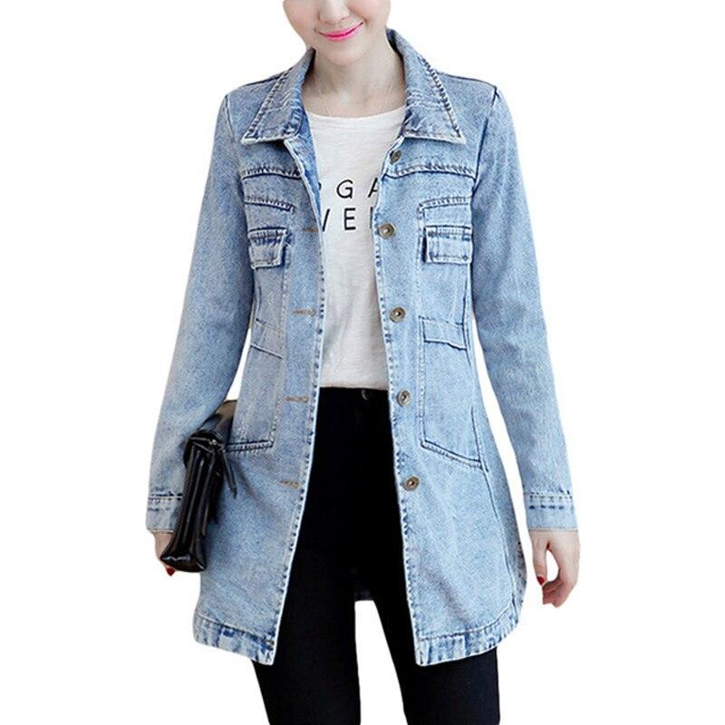2019 women boyfriend style long sleeve vintage jean jacket denim loose spring autumn denim coat