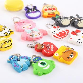 Wholesale 2pcs Cartoon Keychain Chain Anime Animal Stitch Batman Totoro Kitty Silicone Keychain Car Phone Keyring Women Bag Car phone