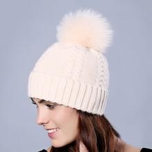 Plus Size Fox Fur Ball Women Winter Hats Wool Knitted Skullies & Beanies Real Rabbit Fur with Fox Pompoms Lady Caps Keep Earwarm