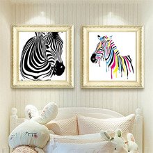 HAOCHU Nordic Minimalist Abstract Colorful Zebra Animal Home Art Decorative Painting Living Room Bedroom Hotel Wall Poster