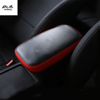 high quality 1pc Car sticker for 2019 KIA cerato K3 Genuine leather carbon fiber grain armrest box protection cover
