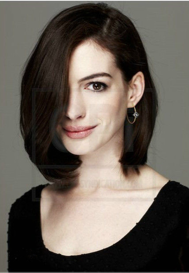 Anne Hathaway Hairstyle Natural brown short bob hair wigs fashion lace front short ...