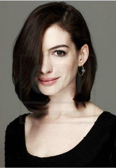 Anne Hathaway Hairstyle Natural brown short bob hair wigs ...