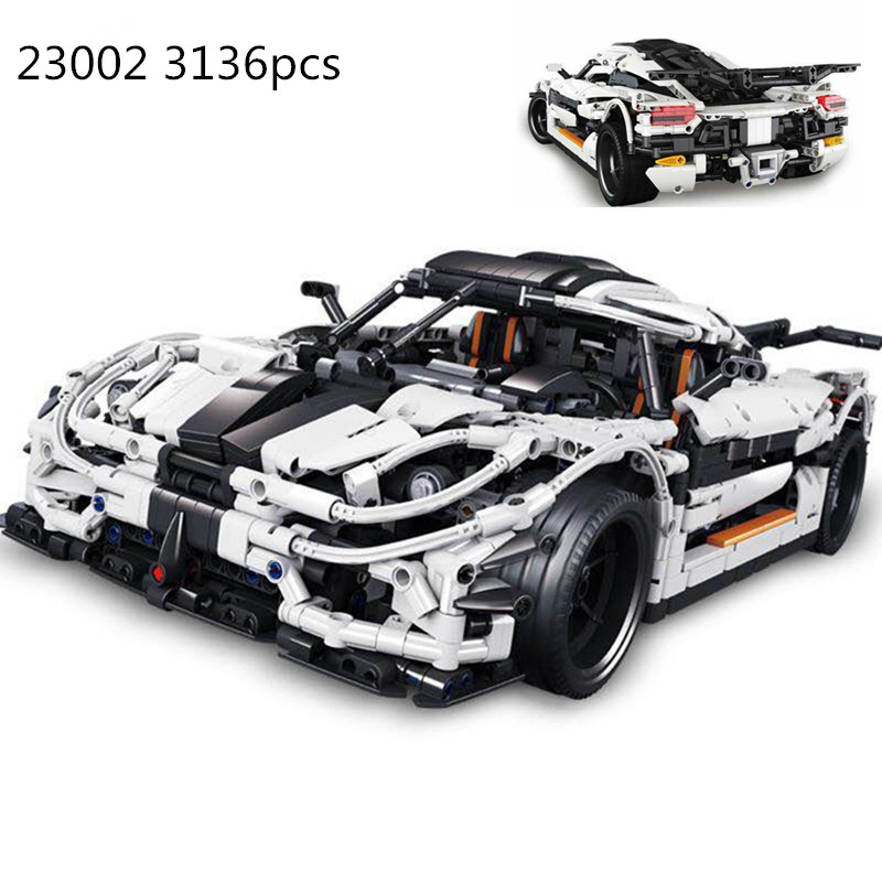 3136pcs diy Compatible playmobil technic series 3368 race car bricks Legoing 42056 model building kits blocks toys for children