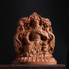 1- Wood carving loyalty guan gong statue of mahogany automobile decoration of high-end perfume car interior decoration.