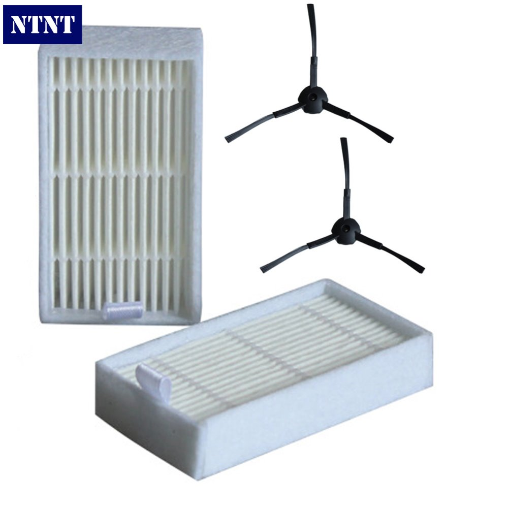 NTNT 2 PCS Side Brush + 2 PCS Filter For panda x500 For ECOVACS CR120 X600 Vacuum Cleaner Accessories Pack женские часы q and q ka33 001