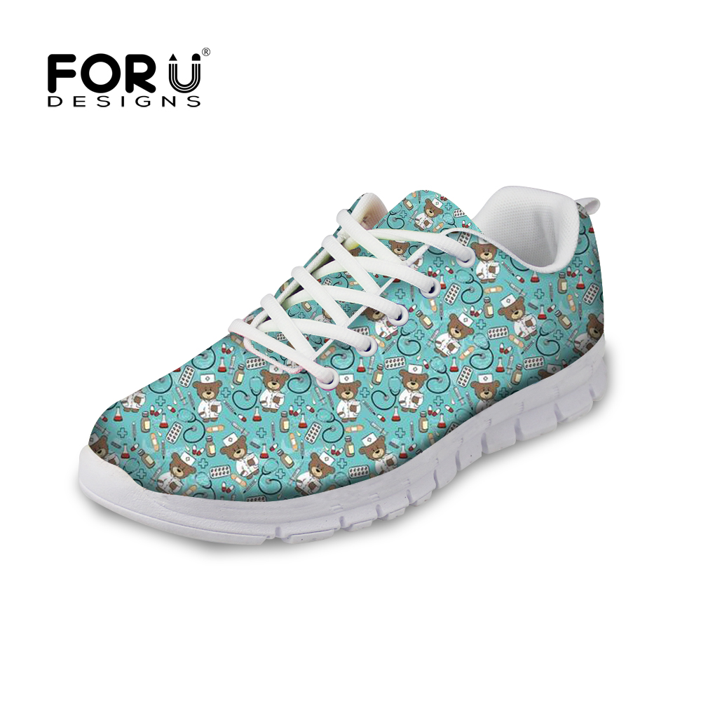 FORUDESIGNS Casual Sneakers Women Spring Flats Shoes Girls Cute Nurse Printed Lace-up Comfortable Shoes for Female Flat Footwear instantarts cute glasses cat kitty print women flats shoes fashion comfortable mesh shoes casual spring sneakers for teens girls