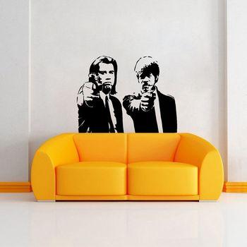 Classic Adesivi Banksy Jules e Vincent Pulp Fiction Film Wall Art Decalcomania Della Decorazione Murale Del Vinile Poster Home Decor ZB496