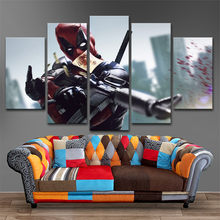 Modular Picture 5 Pieces Movie Deadpool Poster Top-Rated Canvas Print Painting Modern Wall Art Decorative Framework Living Room