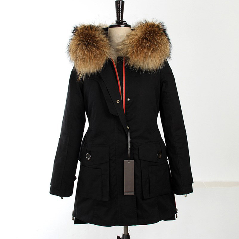 New 2016 Winter Coats Women Jackets Real Large Raccoon Fur Collar Thick Ladies Cotton Parkas Army Green Long Brand Coat JA591 2017 winter new clothes to overcome the coat of women in the long reed rabbit hair fur fur coat fox raccoon fur collar