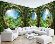 beibehang papel de parede 3d wallpaper stereoscopic fashion seductive wall paper dream forest trees animal theme house murals