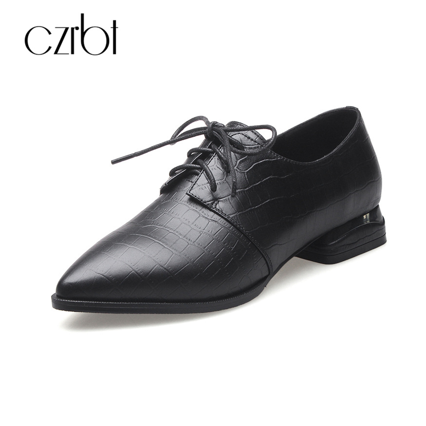 CZRBT Spring Popular Square Printing Oxfords Women British Style Pointed Toe Brogue Shoes Womens 100% Leather Flats Autumn Shoes 6d maxliner
