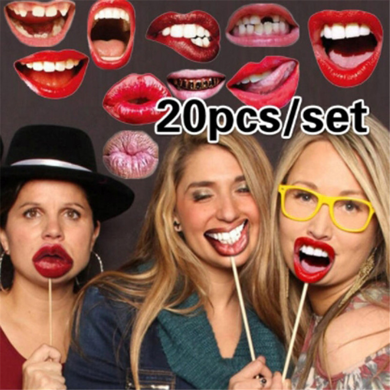 20pcs/pack Funny Lip Mouth DIY Paper Photo Props Booth On A Stick For Women Girls Wedding Birthday Decoration Party Supplies
