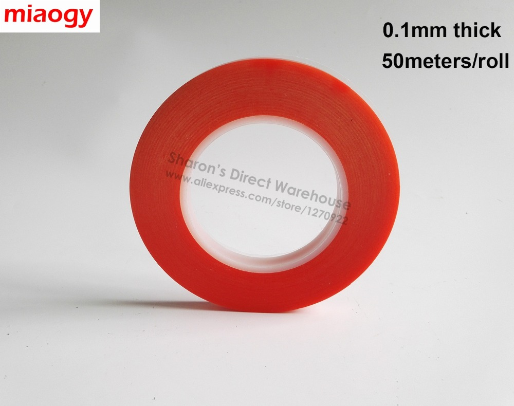0.1mm Thick, 50meters/roll, Clear PET Removable Double Sided Adhesive Tape, High Temperature Resist Electrics Display Widely Use 50 meters roll 0 2mm thick 2mm 50mm choose super strong adhesive double sided sticky tape for cellphone tablet case screen