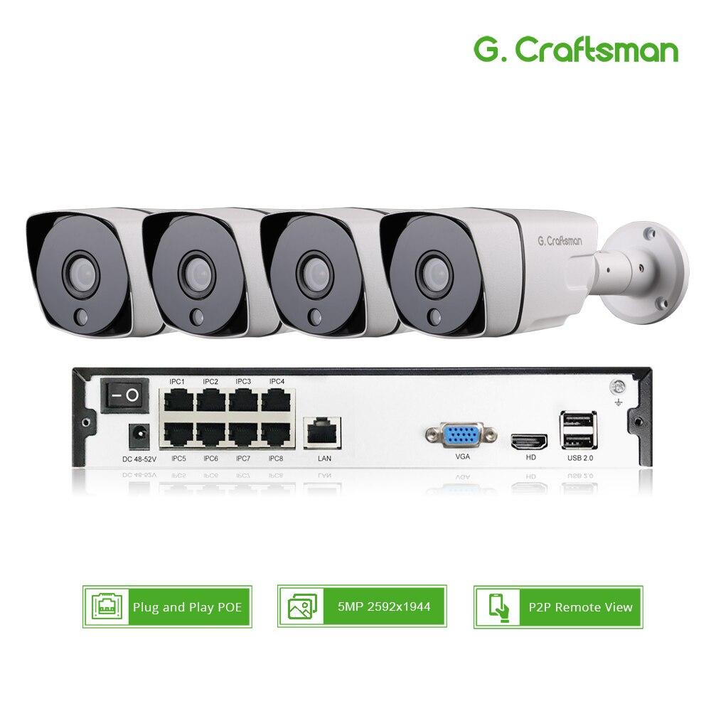 Kit Sistema de Câmera IP POE 4ch 5MP H.265 inteligente Alarme de Segurança com 8ch NVR POE Impermeável Ao Ar Livre CCTV Cam Vídeo p2P G. artesão