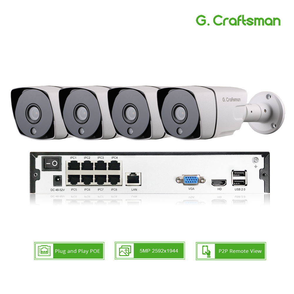 Smart 4ch 5MP POE  IP Camera System Kit H.265 Security with 8ch POE NVR Outdoor Waterproof CCTV Cam Alarm Video P2P G.Craftsman-in Surveillance System from Security & Protection