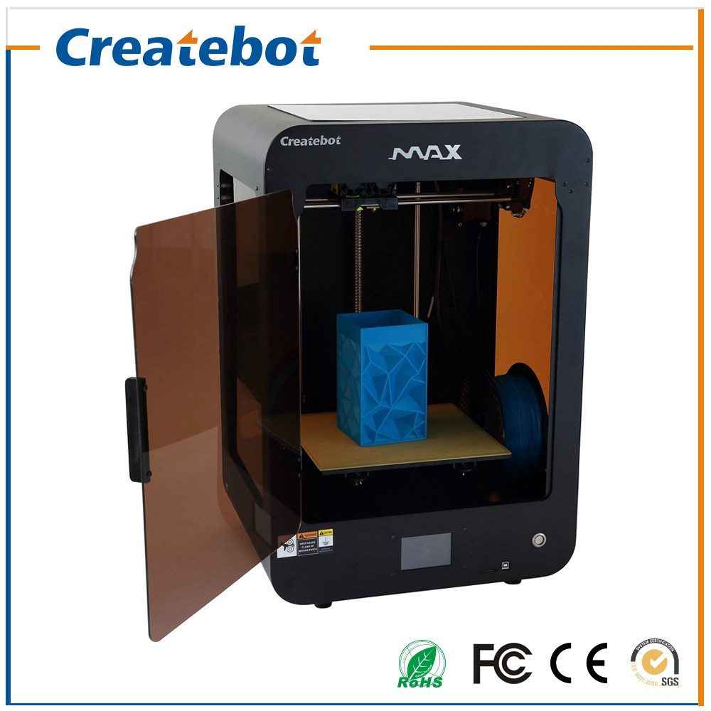 New Arrival Createbot Max 3D Printer Kit Full Metal Frame Dual Extruder Touch Screen Display Two Color Semi-Auto Leveling