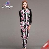 2017 New Autumn Runway Designer Suit Set 2 Pcs Women S High Quality Black Long Sleeve