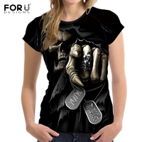 FORUDESIGNS Punk Anime Skull Punisher Grim Reaper Women T Shirts 3D Print Female T Shirt Short