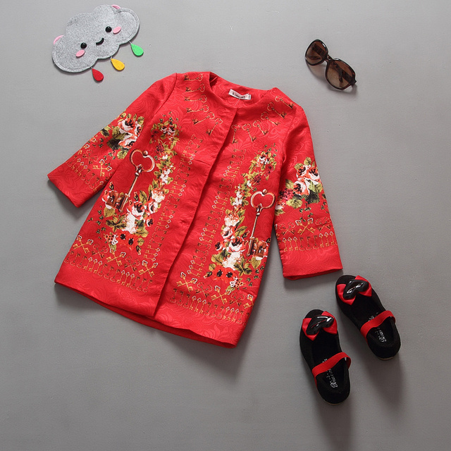 2016 children clothing coat for a girl kids outwear Long Sleeve  chinese style fashion spring/autumn jackets for girls clothes