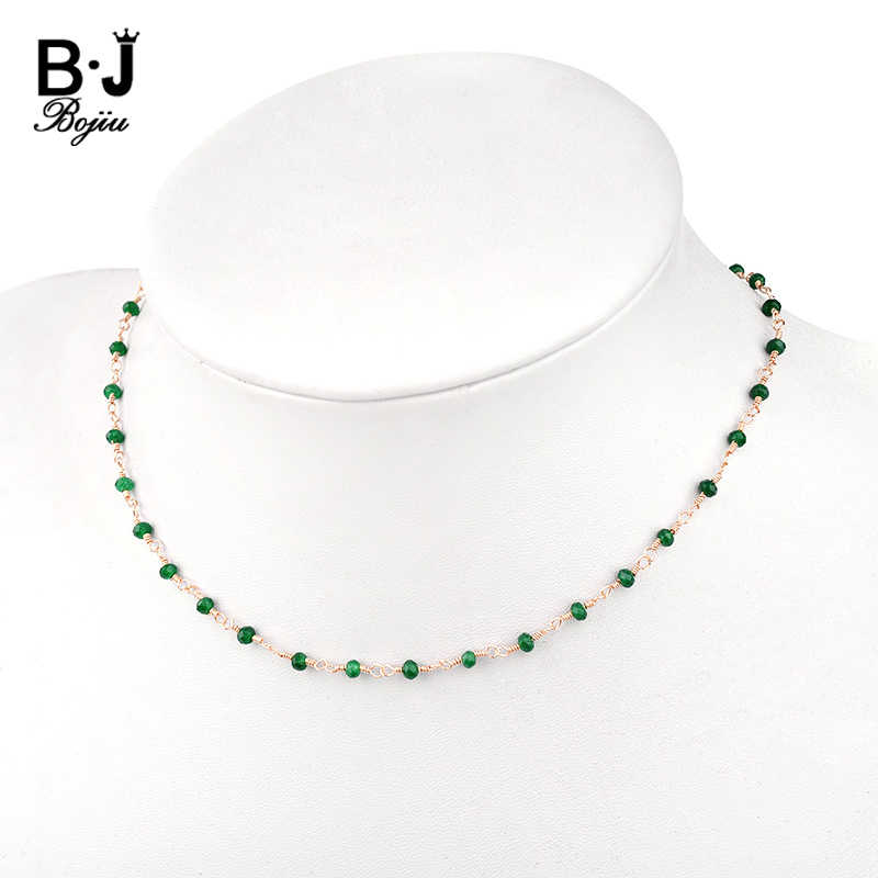 BOJIU Tiny Stone Beads Choker Necklace For Women Handmade Gold Link Chain Fashion Crystal Necklaces In Jewelry Gift NKS207