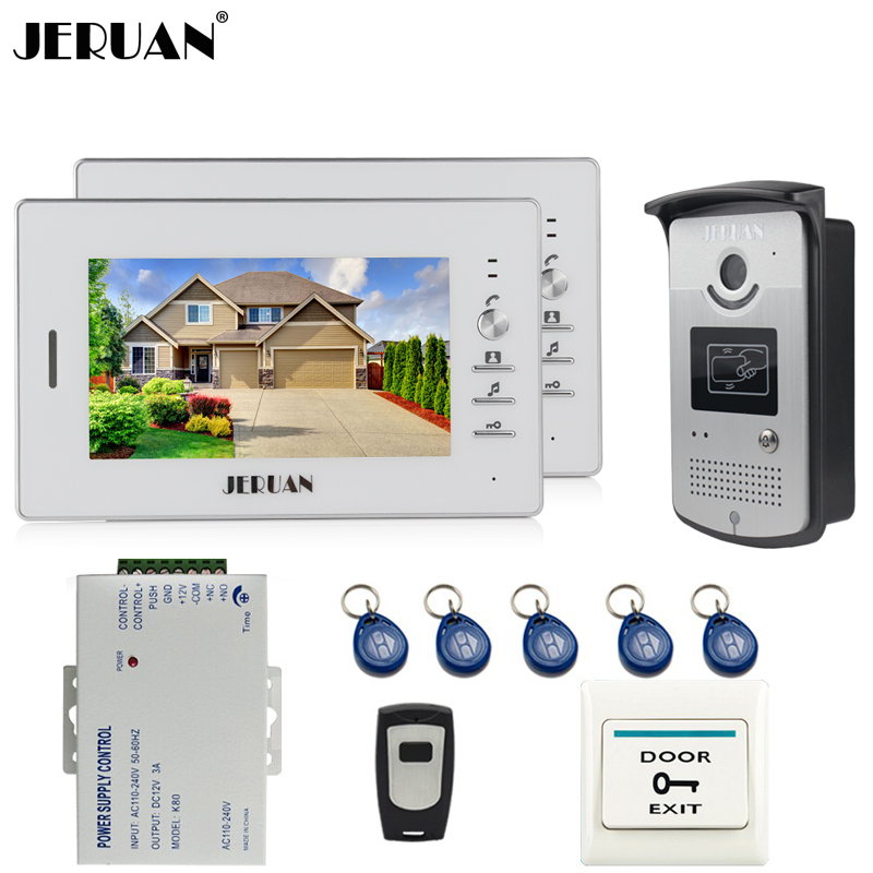 JERUAN Home 2 White Doorbell intercom 7`` LCD Video Door Phone Intercom System kit 2 Monitors 700TVL RFID Access COMS Camera jeatone 7 lcd monitor wired video intercom doorbell 1 camera 2 monitors video door phone bell kit for home security system