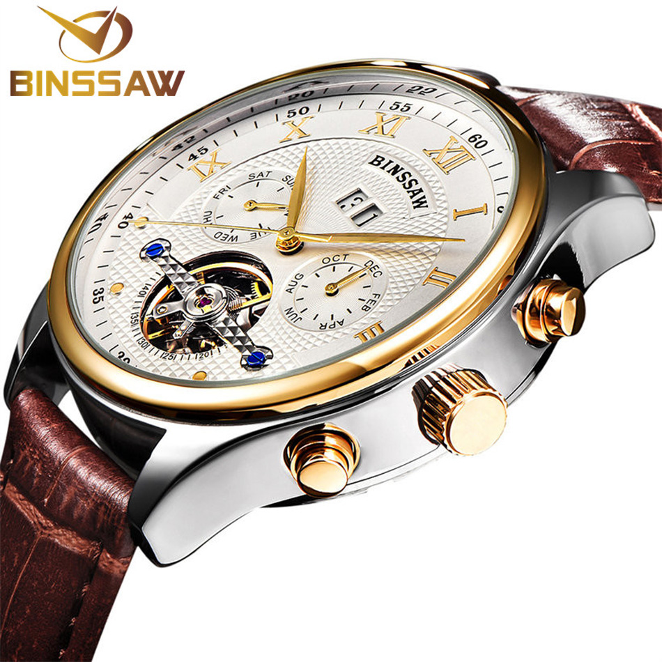 BINSSAW Brand Mens Mechanical Wrist watches Diver 30m Auto Calendar Automatic Self-Wind Casual Clock Real Leather Male Watches