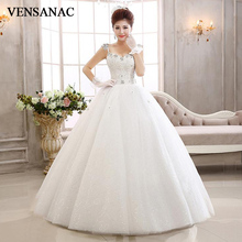 VENSANAC 2018 Sweetheart Lace Flowers Appliques Ball Gown Wedding Dresses Crystal Spaghetti Straps Backless Bridal Gowns