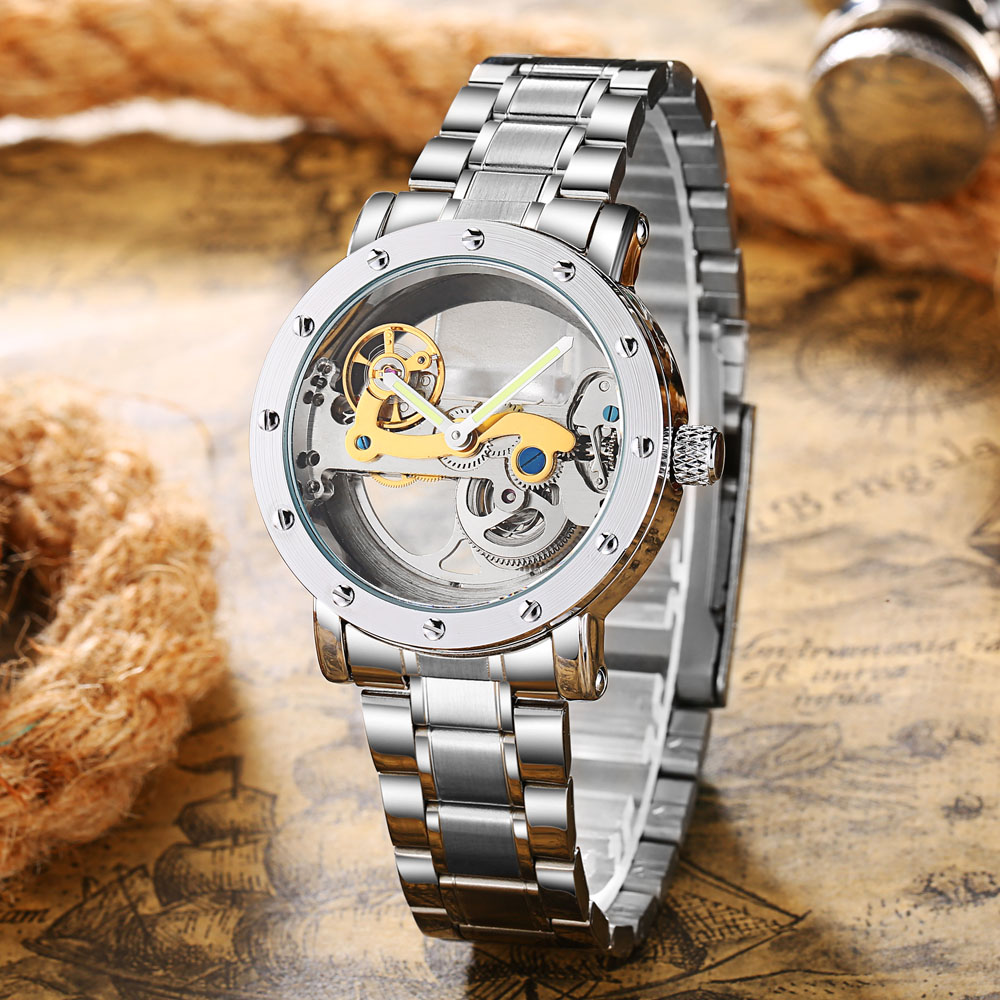 Automatic Mechanical Watch Men Tourbillon Transparent Watch Men Fashion Skeleton Watches Stainless Steel Men Watch montre homme