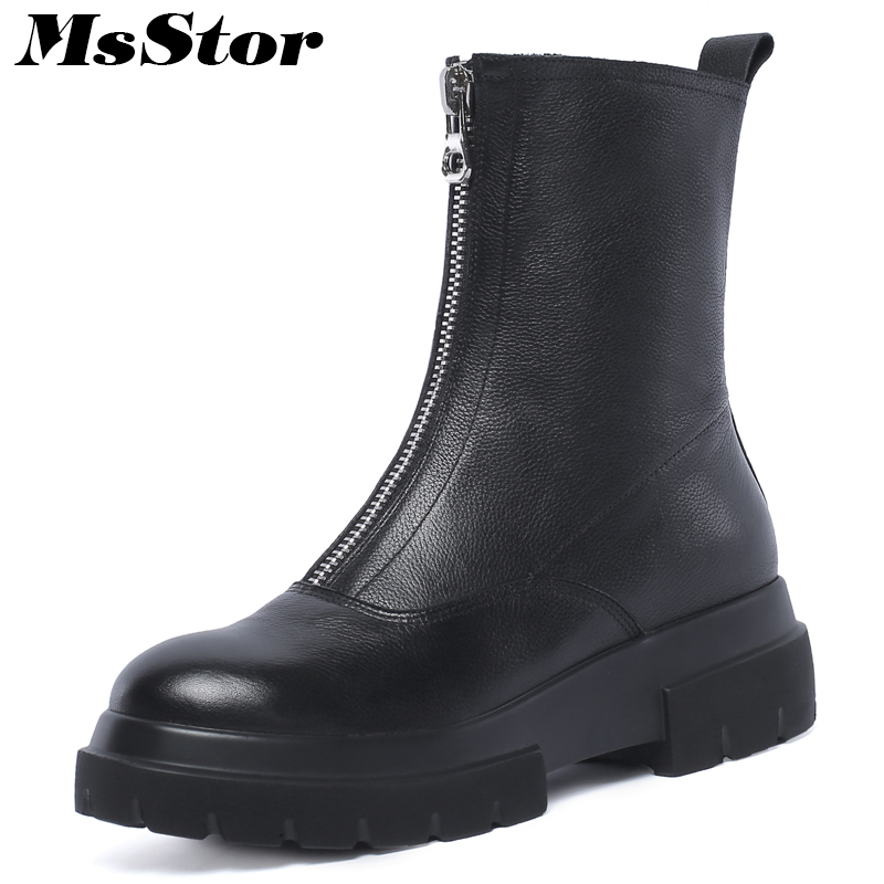 MsStor Round Toe Med Heel Women Boots Fashion Zipper Platform Ankle Boots Women Winter Shoes Square heel Black Boots For Woman basic 2018 women thick heel ankle boots black pu fleeces round toe work shoe red heel winter spring lady super high heel boots