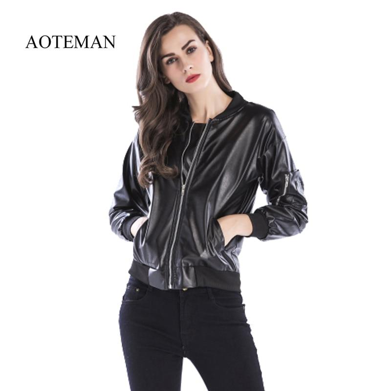 Aoteman Mode Frauen Basic Mäntel Jacken Frühling Schwarz Zipper Crop Jacke Punk Stil Sexy Frauen Pu Leder Jacke Mantel Ernte Tops Professionelles Design