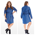 Fashion Celebrity Style Slim Jeans Women Summer Dress New 2017 Plus Size Women Clothing 6XL Blue Solid Long Sleeve Jeans Dress