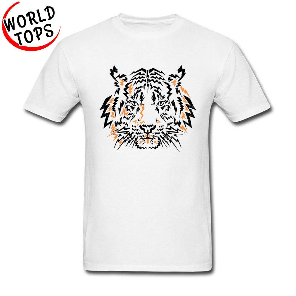 Yanıp sönen kaplan soğuk beyaz T shirt kısa kollu harika tasarım hayvan canavar görüntü Tshirt erkek komik pamuk Tees Online