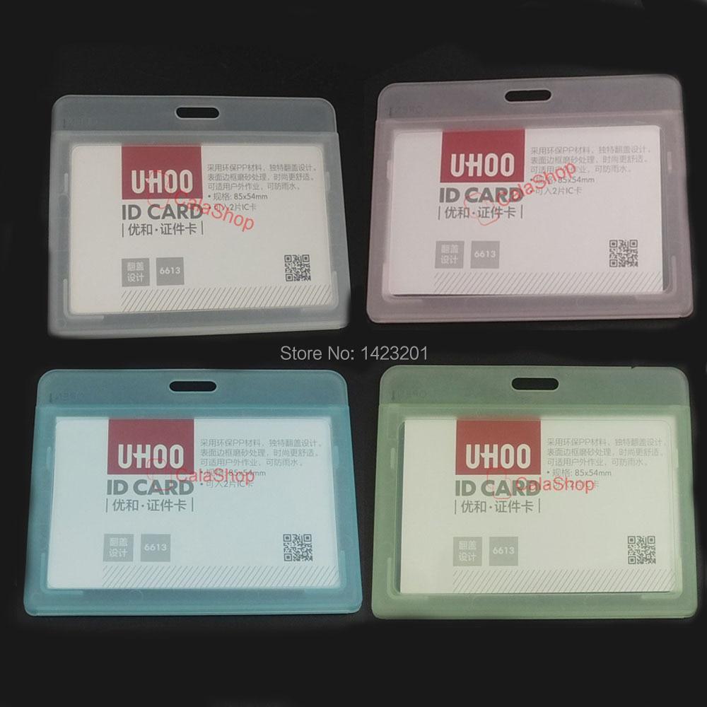 10 Pcs / Lot Clear Hard Plastic ID Card Holder Badge Horizontal ...