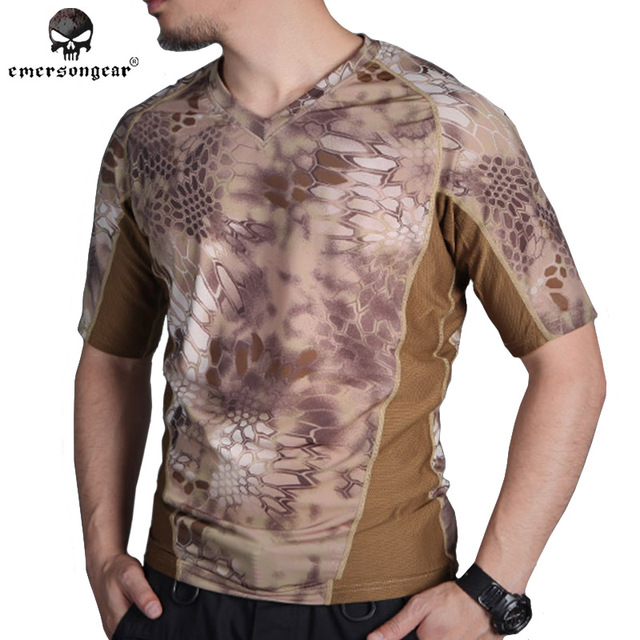 e93728691505e EMERSON perspiration Tshirt Skin Tight Base Layer Camo Running Shirts  Breathable Short sleeve EM9167