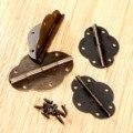 2 Pcs Antique Bronze Dobradiças Do Armário Porta Bundas Dobradiça Acessórios Para Móveis De Madeira Caixa de Acessórios Para Móveis Dobradiças + Parafusos