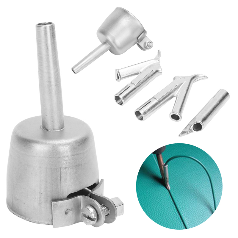 4Pcs  Hot Air Gun Coving Floor Speed Welding Nozzle Round Triangular 5mm Welding Tip For Plastic PVC Vinyl Welder Mayitr 5mm round nozzle 5mm round speed nozzle 7mm triangle speed nozzle tacking nozzle