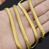 316L Stainless Steel 18K Gold Plated Flat Snake Necklaces Chain Mens Womens Jewelry Fashion Cool Wholesale
