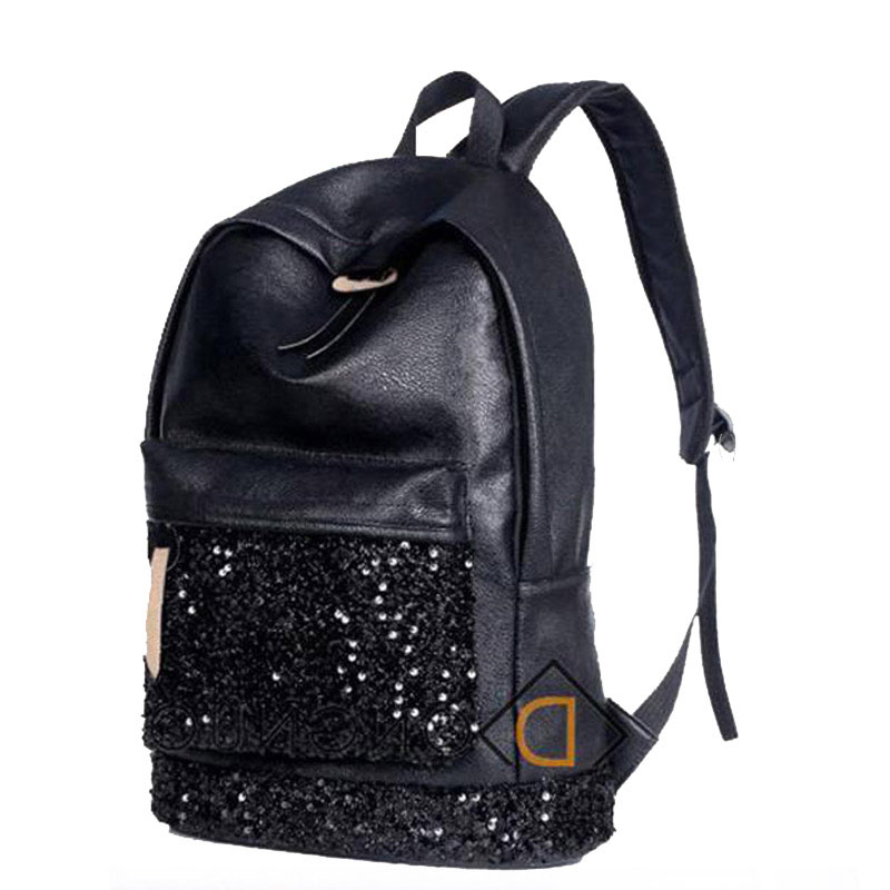 New 2017 Fashion Black Women Backpacks Big Crown Embroidered Sequins Bagpack Leather PU Backpack School Bags For Teenagers Girls new fashion game pokemon backpack anime pocket monster school bags for teenagers gengar bag pu leather backpacks rugzak