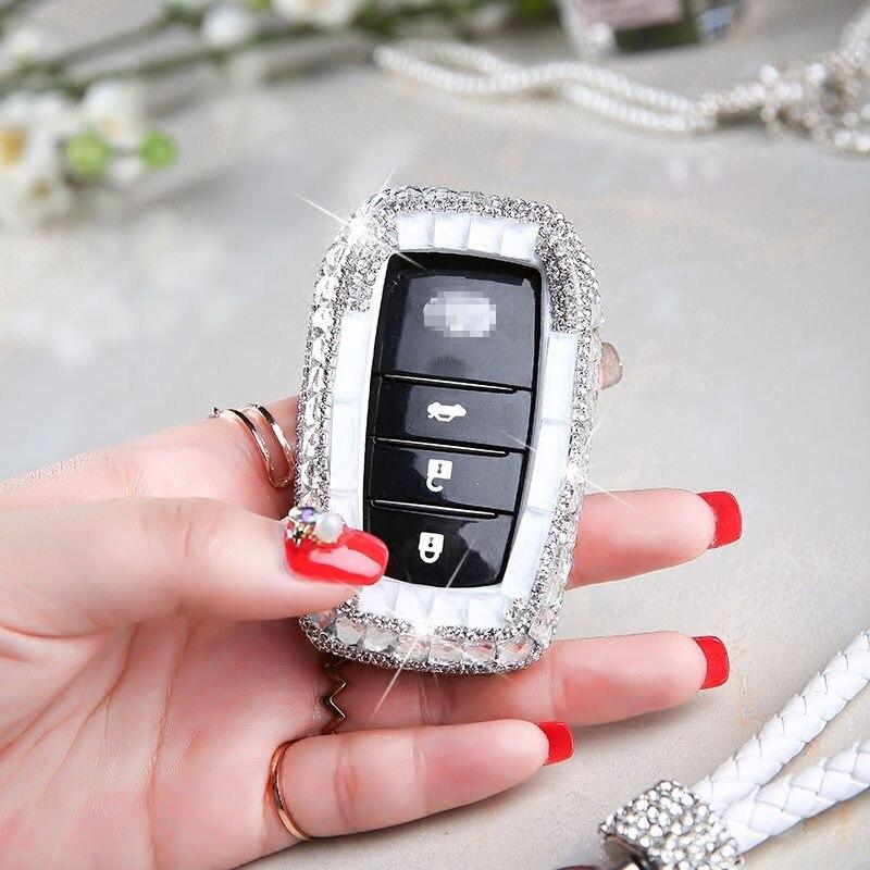 Luxury Diamond bling car key case cover/ key shell Holder for Toyota Land Prada Corolla  ...
