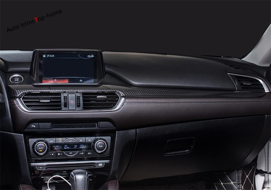 Yimaautotrims Interior For <font><b>Mazda</b></font> <font><b>6</b></font> Sedan & <font><b>Wagon</b></font> 2016 2017 ABS Dashboard Central Control Instrument Panel Decoration Cover Trim image
