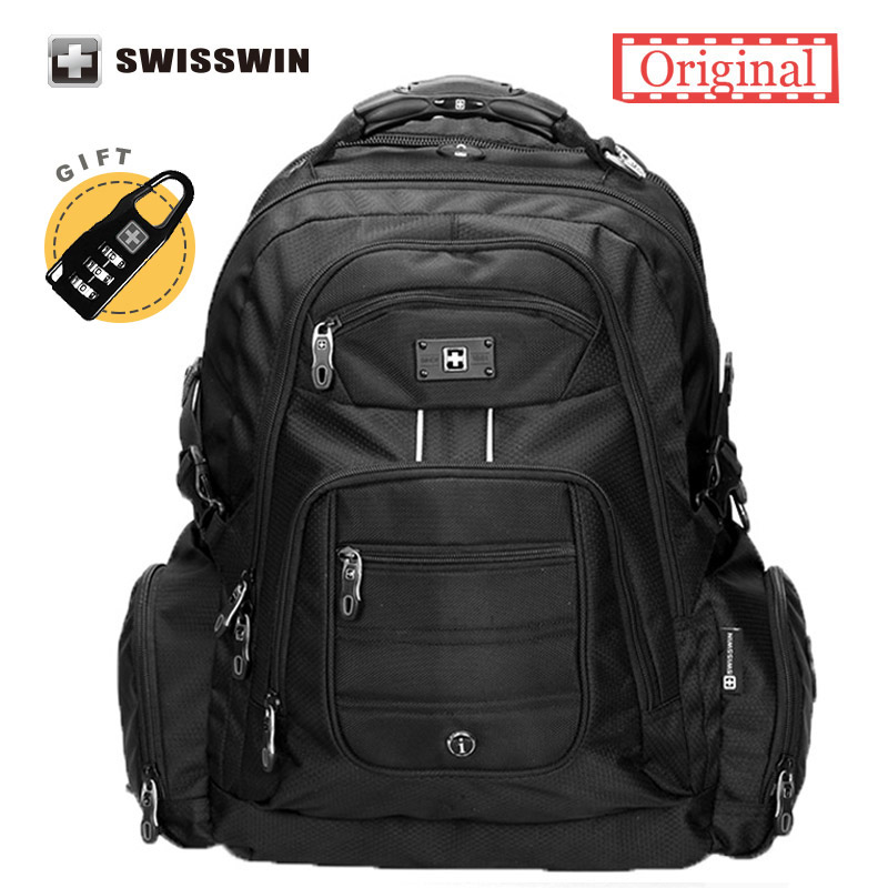 Swisswin 17 inch Men's Laptop Backpack Waterproof Nylon Notebook Computer Bag High Quality 37L Big Travel Backpack Black unique high quality waterproof nylon 15 inch laptop backpack men women computer notebook bag 15 6 inch laptop bag