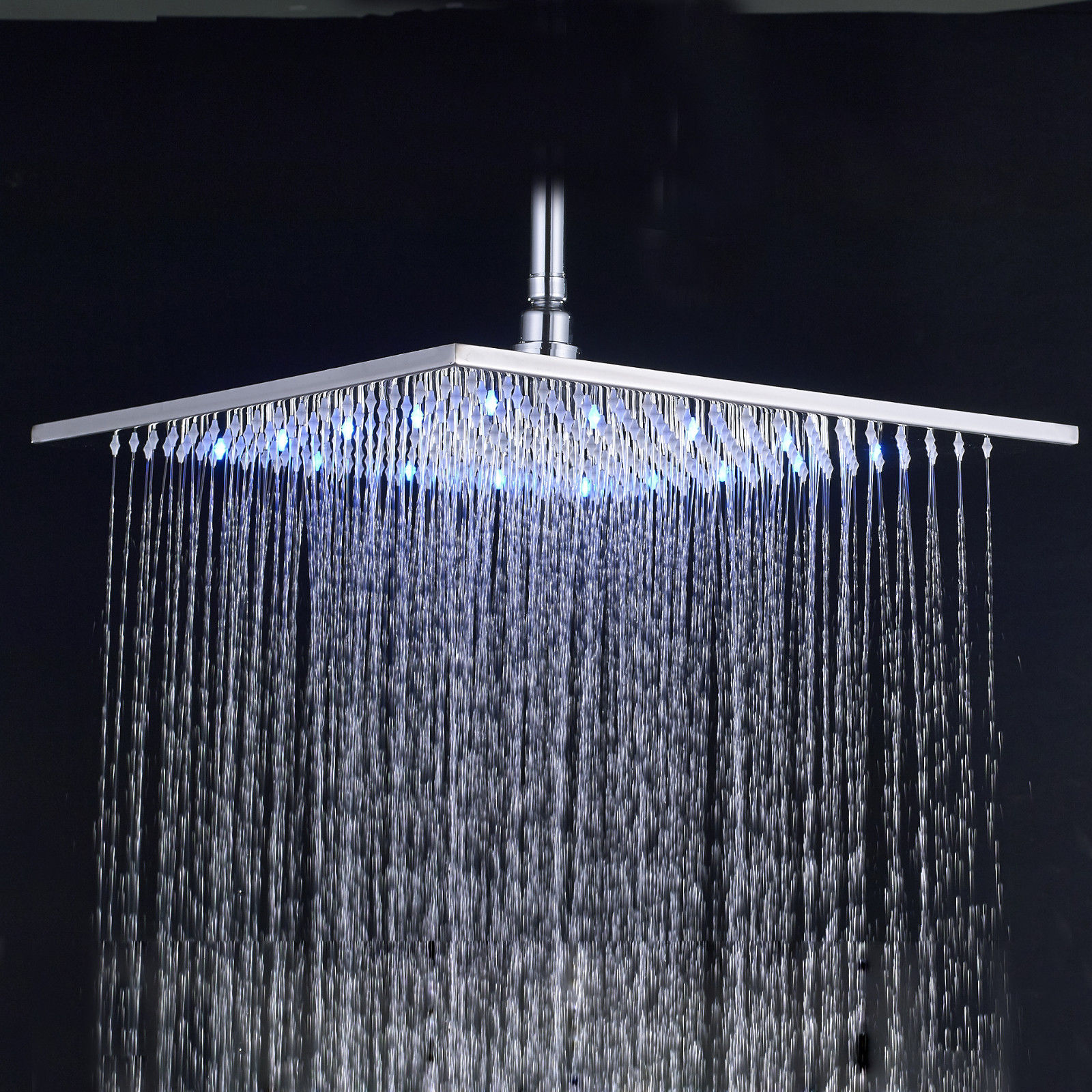 Wall Mount Ceiling Mounted 16-inch Stainless Steel Square Rainfall Shower Head LED Color Changing kemaidi led three color changing rainfall