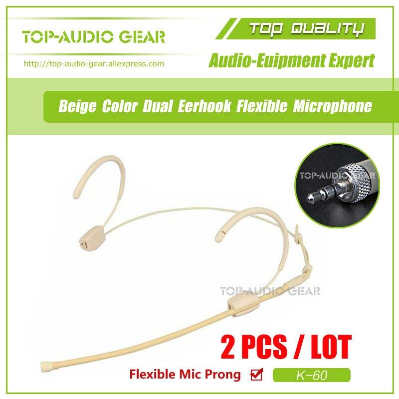 2 sztuk/partia beżowy zestaw słuchawkowy Mikrofon kondensujący Headworn Mikrofon do systemu bezprzewodowego Sennheiser 3.5mm gniazdo śruby Mike Mikrofon w Mikrofony od Elektronika użytkowa na  Grupa 1