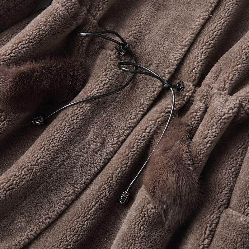 Automne Capuchon Mouton Vêtements Laine En Doublure Manteaux Fourrure Honghui Réel Renard Manteau Zt1525 Pu Coréennes À Femmes De 100 Hiver Peau Veste TtqAwn8Tr