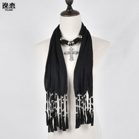 6 Colors Free Shipping Fashion Scarves For Women Tassels Jewellery Scarf With Cross Pendant SF246