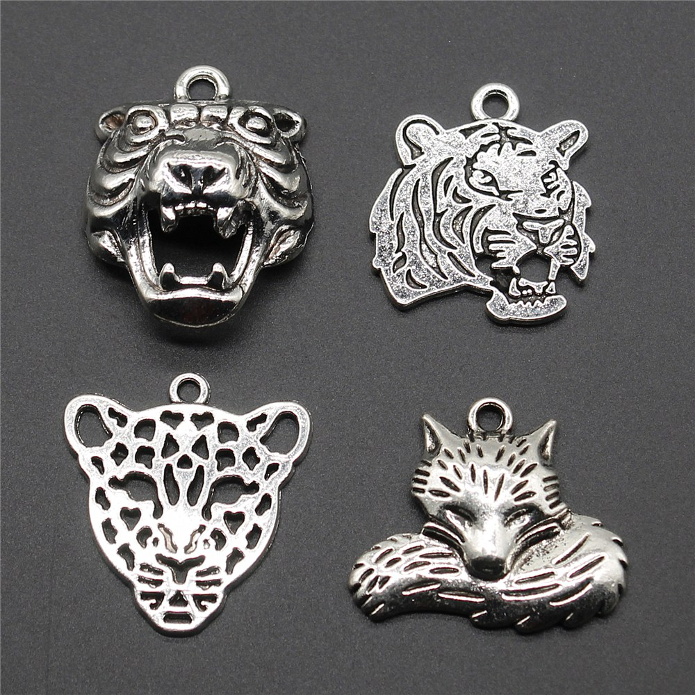 Tibetan Silver Tiger Leopard  Animal Charms Jewelry Pendant  5 pcs