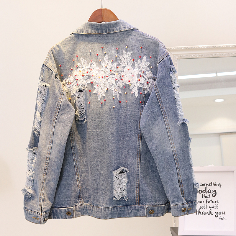 Basic Jackets Shop For Cheap 2018 Autumn New 3d Pattern Nail Beads Embroidered Hole Denim Jacket Female Loose Long Sleeve Student Jeans Coat Outwear Feminino