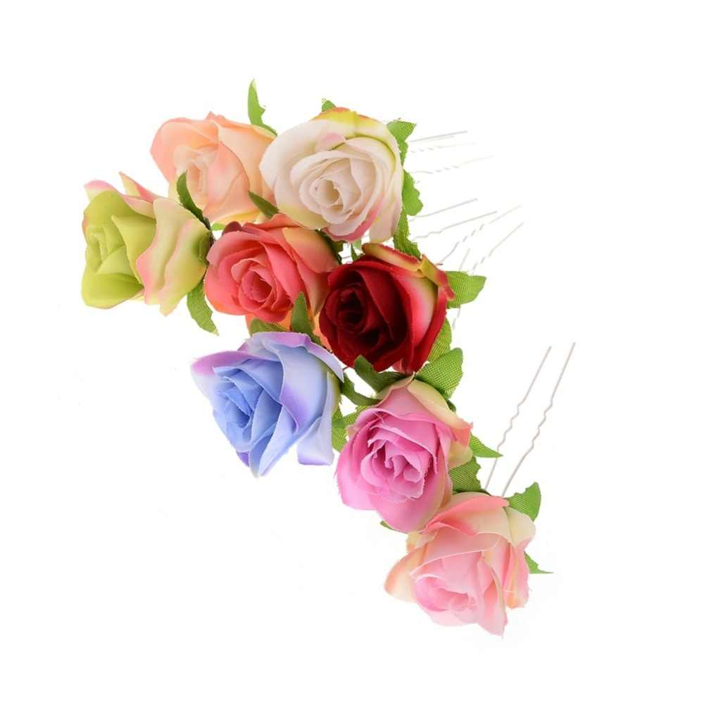 00a4b34a3a54f 2019 Real Promotion Plant Wholesale 8 Colours Rose Flower Women Wedding  Bridal Girls Hair Accessories Pins