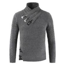 Весенний пуловер Мужской свитер модный из трех искусственной кожи с пряжкой и высоким воротником мужской толстый теплый пуловер с длинными рукавами свитер